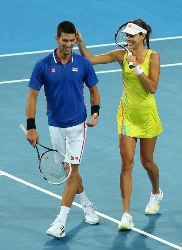 Ana Ivanovic y Novak Djokovic durante la Hopman Cup del 2013 (Foto: zimbio)