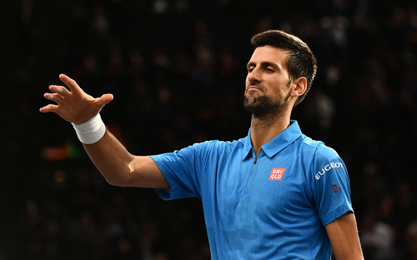 Djokovic reacts to the loss of a point (Photo by Dan Mullan/Getty Images)