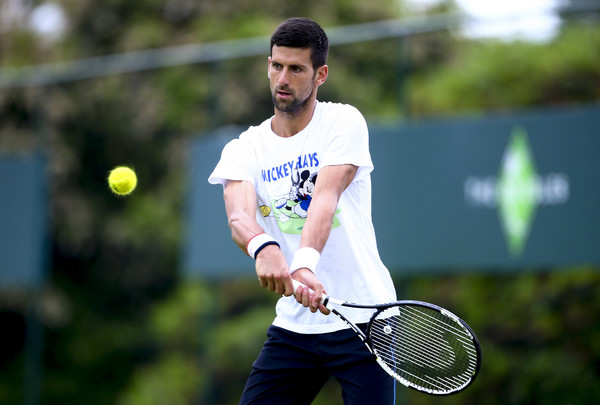 Novak Djokovic practices The Boodles TennisEvent. Photo: Jordan Mansfield/Getty Images