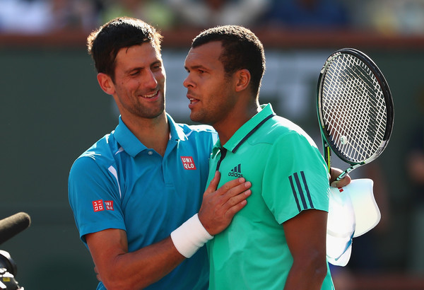 Djokovic and Tsonga in Indian Wells. Photo: Julian Finney/Getty Images
