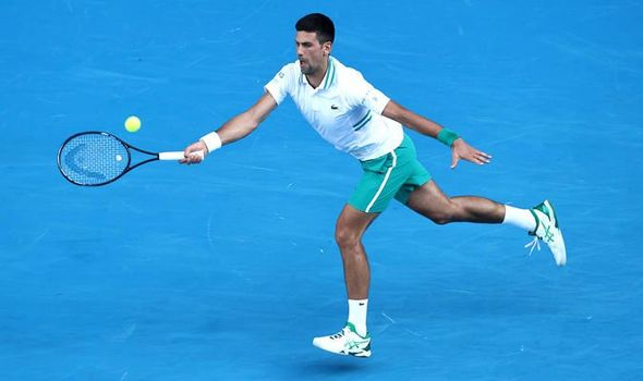 Djokovic reaches for a forehand/Photo: Matt King/Getty Images