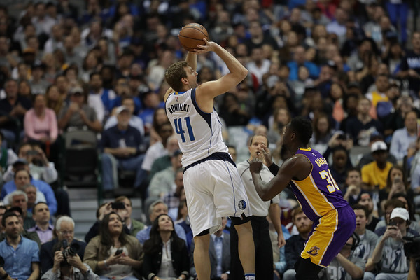 His old age brings Dirk Nowitzki down low on this list. Photo: Source: Ronald Martinez/Getty Images North America