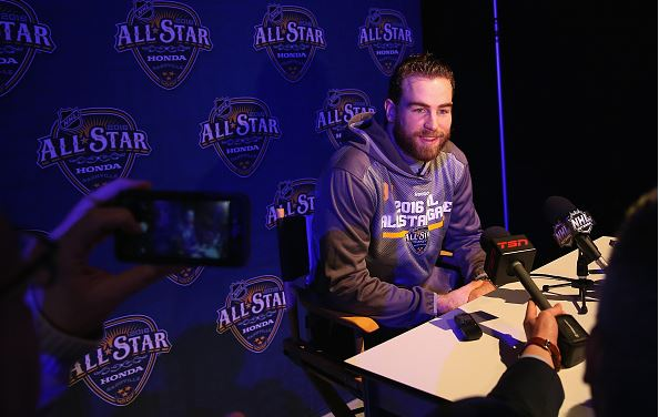 Ryan O'Reilly #90 of the Buffalo Sabres speaks during Media Day for the 2016 NHL All-Star Game at Bridgestone Arena on January 29, 2016 in Nashville, Tennessee. (Photo by Bruce Bennett/Getty Images