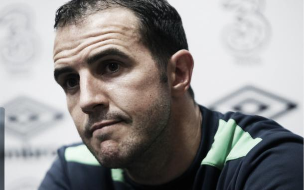 Above: John O'shea speaking to the media ahead of Ireland's clash with Sweden | Photo: The Telegraph