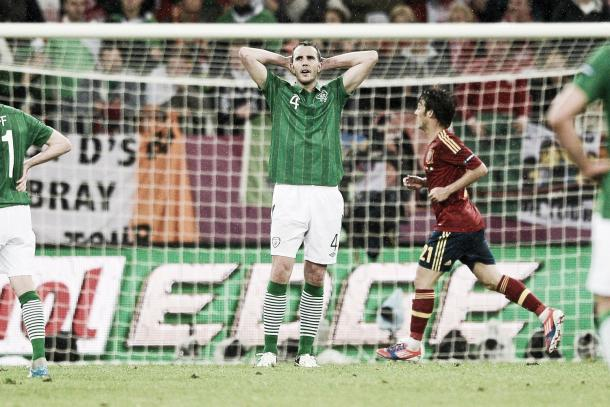 Above: John O'Shea in action for Ireland in their 4-0 defeat to Spain back in Euro 2012 | Photo: thesun.ire