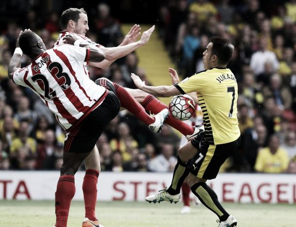 Above: John O'Shea's penalty-awarding challenge on Jose Manuel Jurado in Sunderland's 2-2 draw with Watford | Photo: The Chronicle