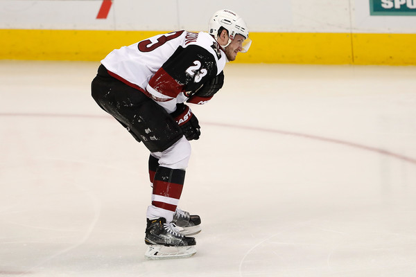 Oliver Ekman-Larsson took some abuse, but returned to the ice. Source: Doug Pensinger/Getty Images North America)