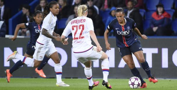 It was another sturdy defensive showing from Lyon in Paris. | Image source: PSG Feminine