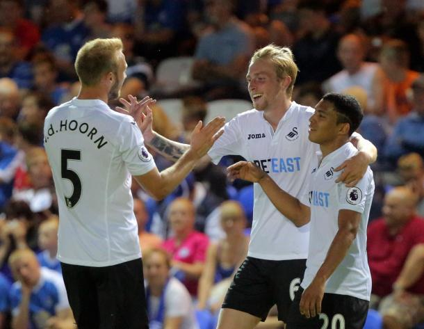 McBurnie celebrates what was a memorable debut. | Image credit: Swansea City