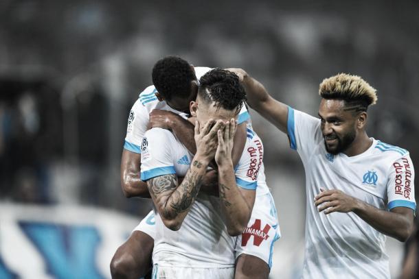 Ocampos emocionado en su festejo de gol. Foto: Sitio Ofiial del Olympique Marsella.