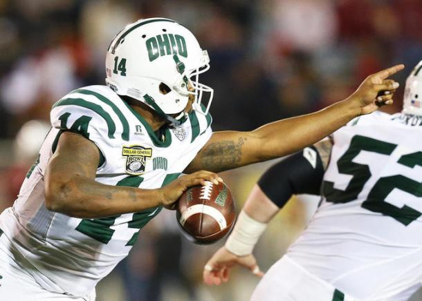 Ohio quarterback Greg Windham was under pressure all night against the suffocating Troy defense/Photo: Brynn Anderson/Associated Press