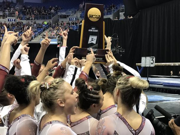 The Oklahoma Sooners celebrate their second straight national championship. Photo Credit: Oklahoma Sooner's Women's Gymnastics Twitter