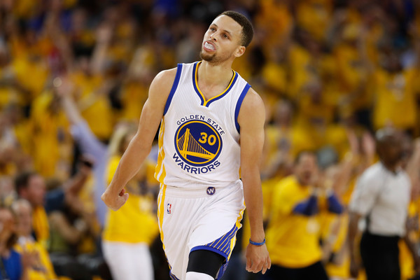 Stephen Curry #30 of the Golden State Warriors reacts to a basket against the Oklahoma City Thunder during game one of the NBA Western Conference Final at ORACLE Arena on May 16, 2016 in Oakland, California. (May 15, 2016 - Source: Christian Petersen/Getty Images North America)