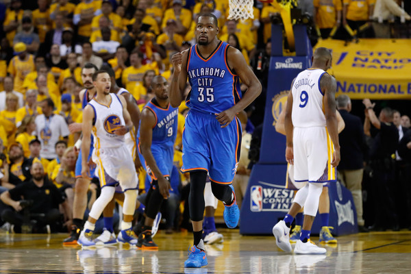 Kevin Durant #35 of the Oklahoma City Thunder reacts after a basket in the fourth quarter against the Golden State Warriors during game one of the NBA Western Conference Final at ORACLE Arena on May 16, 2016 in Oakland, California. (May 15, 2016 - Source: Christian Petersen/Getty Images North America)