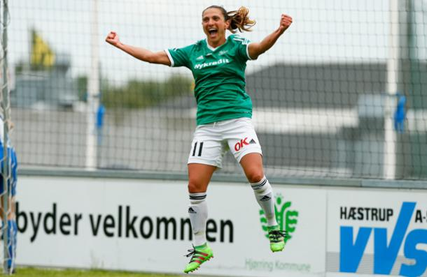 Florentina Olar has been the best player in the leagu and was a big part of the reason why Fortuna won it all. Source: Jess Madsen / fodboldfoto.dk