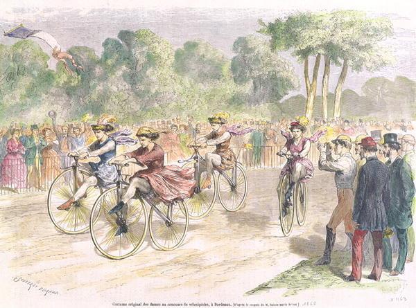 Carrera ciclista femenina en Burdeos (Francia) en 1868 (Wikipedia DP)