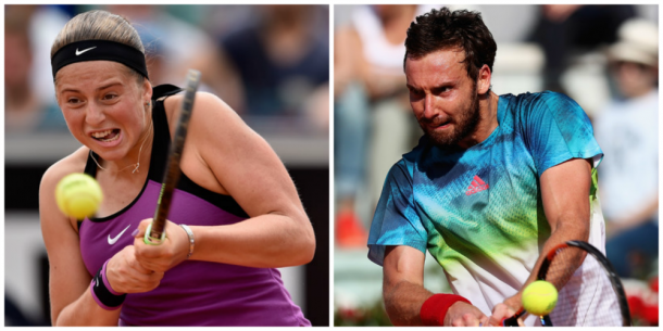 Jelena Ostapenko (left) and Ernests Gulbis hit backhands at the 2016 Internazionali BNL d'Italia. | Photos: Dennis Grombkowski/Getty Images Europe; Matthew Lewis/Getty Images Europe
