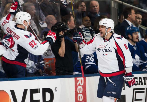 Alex Ovechkin celebrates his first period goal. Photo: Mark Blinch/Getty Images