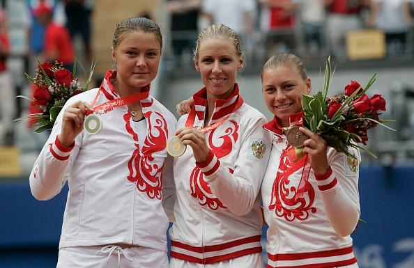 Safina, Dementieva, and Zvonareva on the podium in Beijing (Image: Professional Sport)