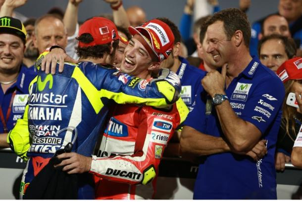 Future teammates? Celebrating podium in Qatar | Photo: Crash.net