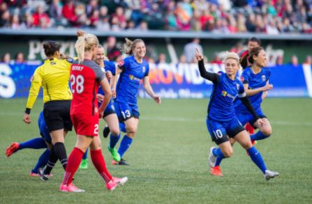 Jess Fishlock celebrates after scoring inside the first minute of the game in the first meeting of the season between Seattle and Portland   Diego Diaz - Icon Sportswire via Getty Images