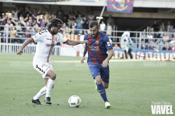 Alberto Perea la temporada pasada con el filial azulgrana. | Foto: Noelia Déniz, VAVEL