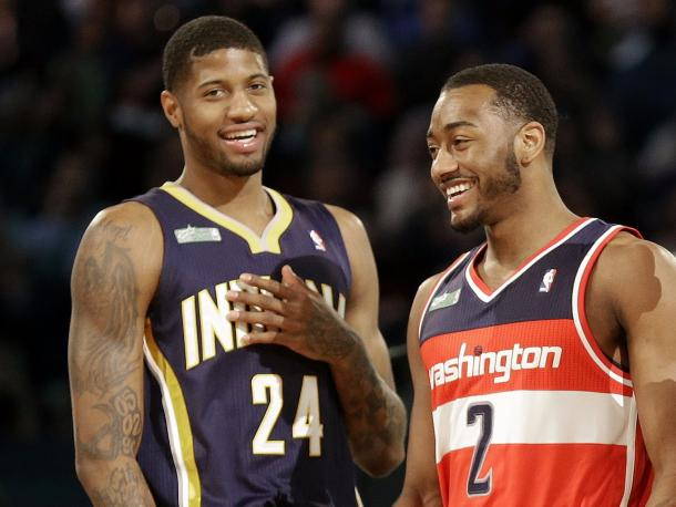 These two had a dance-off in the NBA Dunk Contest back in 2013. Now they can possibly do pre-game handshake routines as teammates. Photo: Gerald Herbert/AP