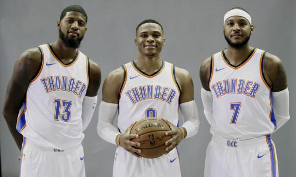 The Thunder's new big three look to get OKC back to the NBA Finals, something George and Anthony haven't accomplished. Photo Sue Ogrocki, AP Photo