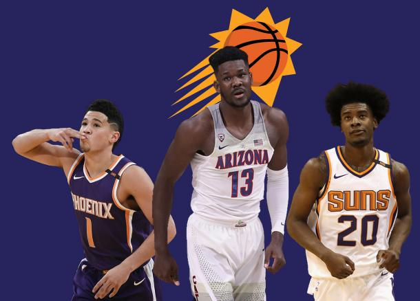 Devin Booker (1), Deandre Ayton (13) and Josh Jackson