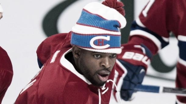 P.K. Subban works out on the ice prior to a home game at the Bell Centre in Montreal. (Paul Chiasson/CP)