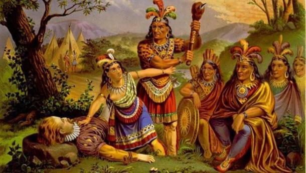 Pocahontas y John Smith. Fuente: Ancient Origins. Artículo: La verdad sobre Pocahontas, Lucía Blázquez