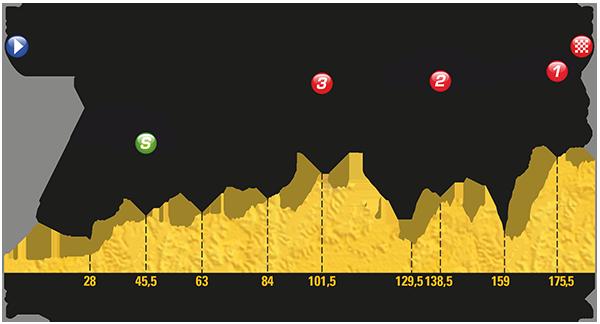 Il disegno altimetrico dell'ottava tappa di questo Tour de France 2017. Fonte foto: letour.fr