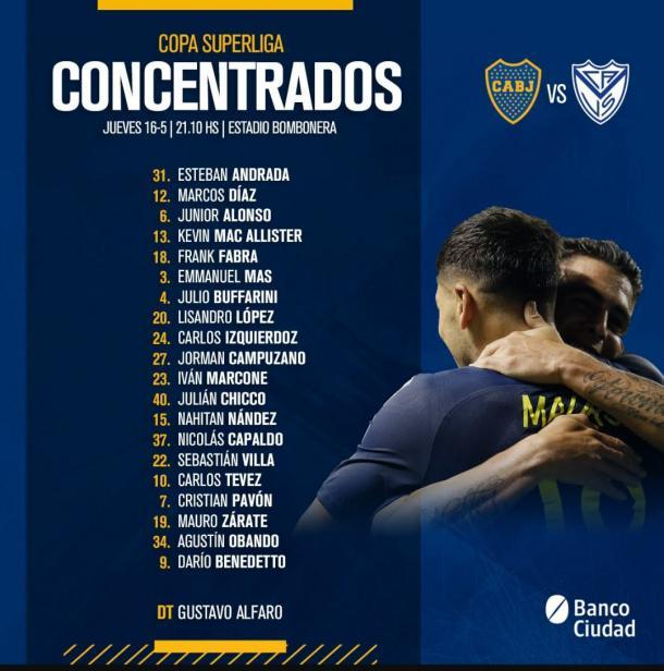 Los 20 del Xeneize para enfrentar a Vélez. | Fuente: Boca Juniors.