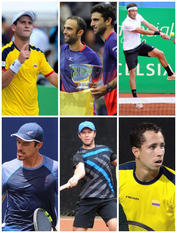 Nicolás Mejía, Cabal y Farah, Eduardo Struvay, Cristian Rodríguez, Juan Sebastián Gómez, y Daniel Galán. Los seis tenistas colombianos con más victorias en 2019. Imagen: fotomontaje.