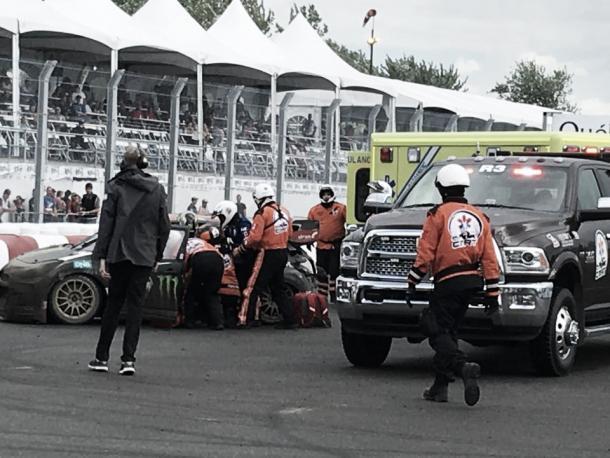 Apesar da batida forte e do carro destruído, Petter Solberg foi para o hospital somente para checagens e passa bem (Foto: divulgação/FIA World Rallycross)