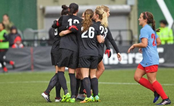 The Portland Thorns celebrating after the converted penalty kick by Nadia Nadim | Source: Craig Mitchelldyer