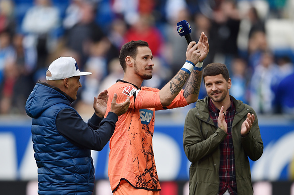 Grahl thanks the fans for their support at Hoffenheim. | Image credit: Dennis Grombkowski/Bongarts/Getty Images