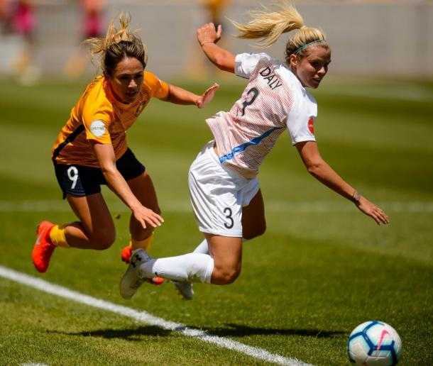 Rachel Daly's running battle with the Utah backline ended in the 90th minute | Source: Trent Nelson-The Salt Lake Tribune