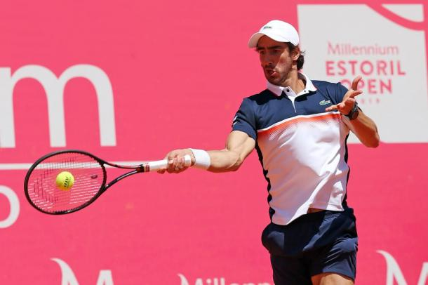 Pablo Cuevas hitting a forehand during his second round match against Filippo Baldi. (Photo by Millennium Estoril Open)