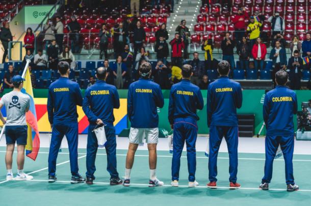 Colombia, en la presentación de uno de sus duelos en las finales de la Copa Davis. Imagen: @Fedecoltenis