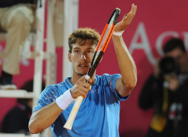 Pablo Carreño Busta celebrating his win in the second round at the Millennium Estoril Open. (Photo by Millennium Estoril Open)