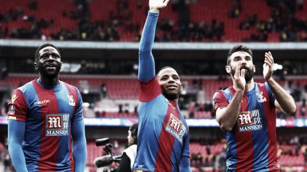 Above: Crystal Palace celebrate after 2-1 victory over Watford in the FA Cup semi-final | Photo: Sky Sports