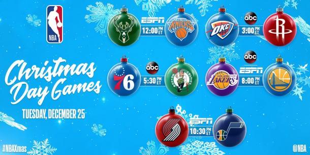 Los cinco partidos de Navidad incluyen varias rivalidades que serán un adelanto de los playoffs (Foto: NBA)