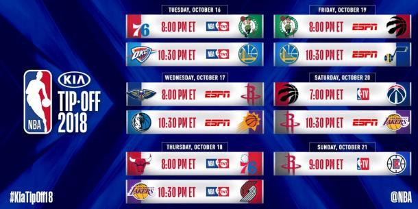 La NBA comunicó nueve partidos de la primera semana de competencia, con muchos grandes juegos (Foto: NBA)