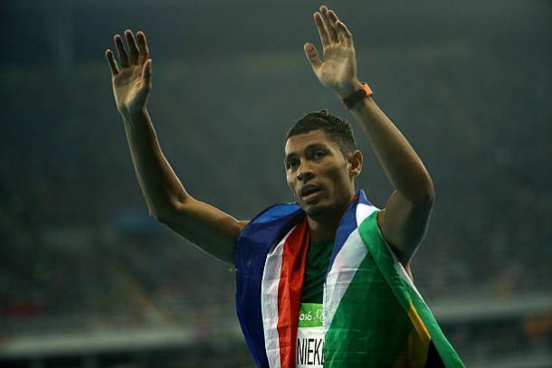 Wayde Van Niekerk after taking Olympic gold last summer (Getty/Patrick Smith)