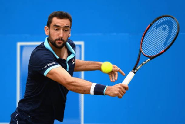 Marin Cilic in action during the Aegon Championships final against Feliciano Lopez (Getty/Patrik Lundin)