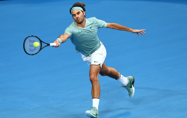 Federer competes against Richard Gasquet of Team France at the 2017 Hopman Cup. Credit: Paul Kane/Getty Images
