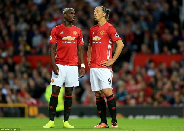 Pogba with Zlatan on his debut | Photo: EMPICS Sport