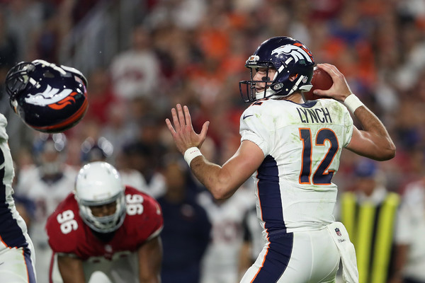 Quarterback Paxton Lynch #12 of the Denver Broncos throws a pass during the preseaon NFL game against the Arizona Cardinals at the University of Phoenix Stadium on September 1, 2016 in Glendale, Arizona. The Cardinals defeated the Broncos 38-17. (Aug. 31, 2016 - Source: Christian Petersen/Getty Images North America)