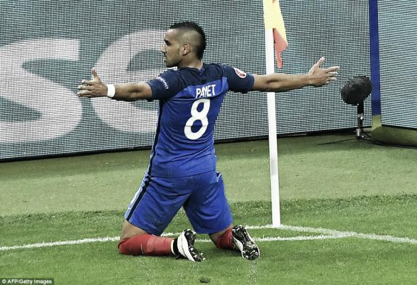 Above: West Ham United's Dimitri Payet celebrating his goal in France's 5-2 over Iceland | Photo: AFP/Getty Images